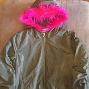 Juniors Charlotte Russe Army Green Hooded Jacket M